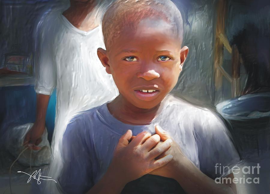 Boy Painting - Merci  Thank You by Bob Salo