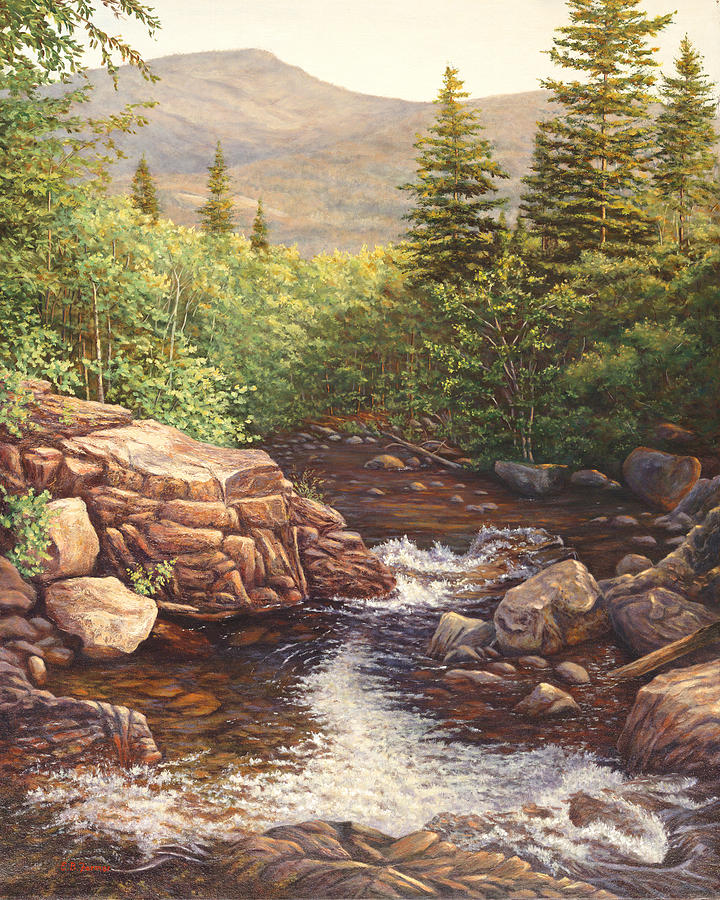 Waterfall Painting - Crystal Cascade Falls, Pinkham Notch, Nh by Elaine Farmer
