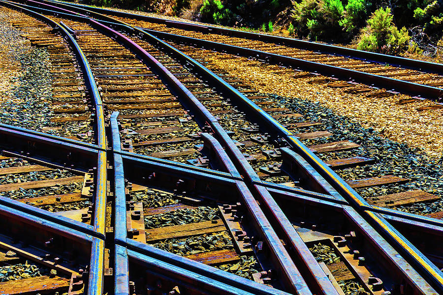 Railroad Photograph - Merging Tracks by Garry Gay
