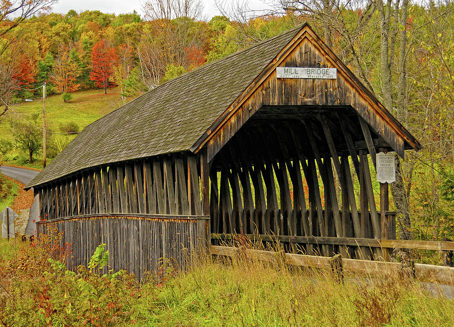Covered Bridge Photograph - Meriden Covered Bridge by Liz Mackney