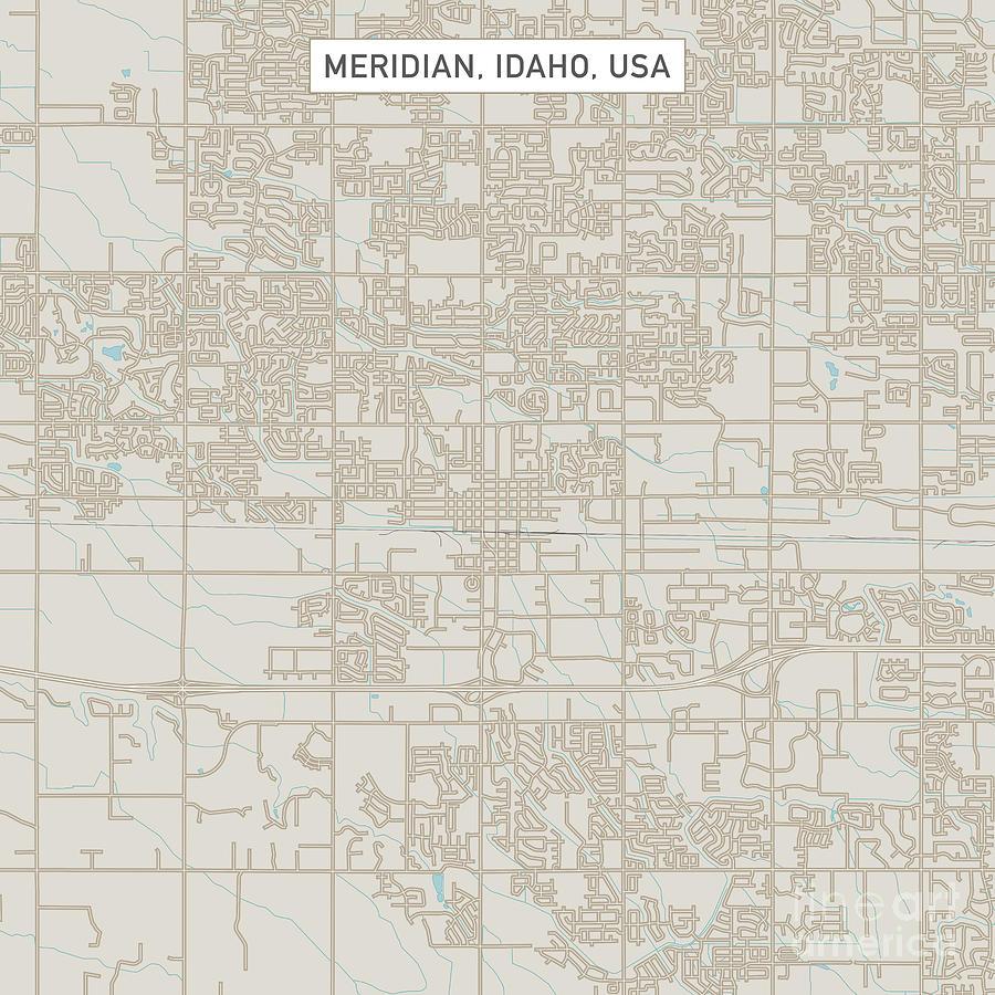 Meridian Idaho Us City Street Map Digital Art By Frank Ramspott