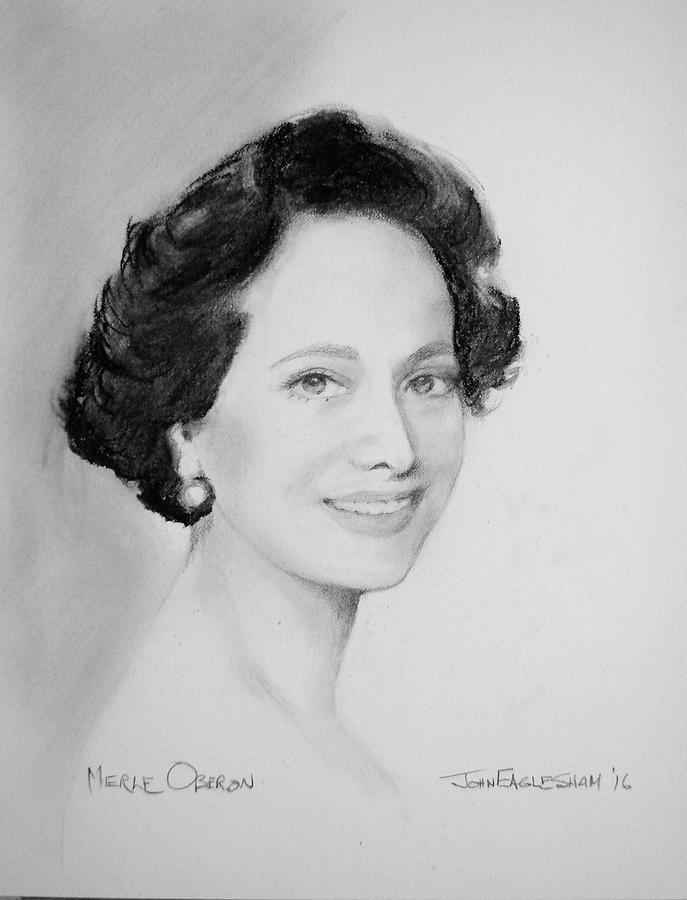 Merle Oberon Drawing by John Eaglesham