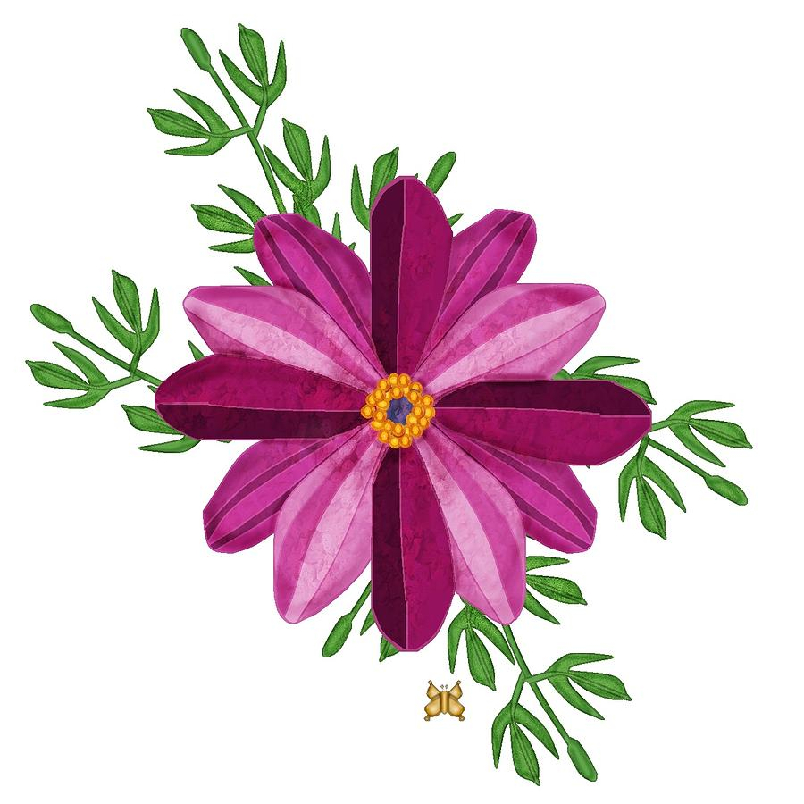Merlot Colored Cosmos Painting - Merlot Cosmos Botanical by Anne Norskog