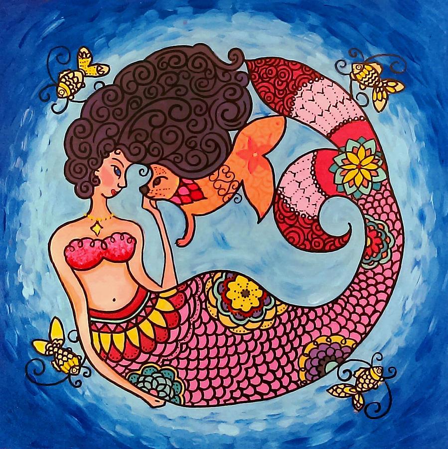 Caroline Painting - Mermaid and Catfish by Caroline Sainis