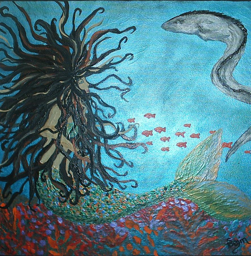 Mermaid Painting - Mermaid And Eel  1         Glows In Dark by Susan Begin