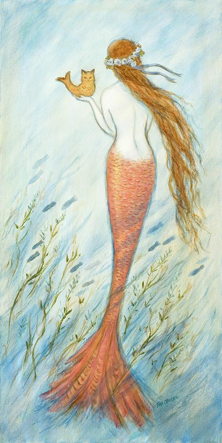 Mermaid Painting - Mermaid And Her Catfish, Goldie by Tina Obrien