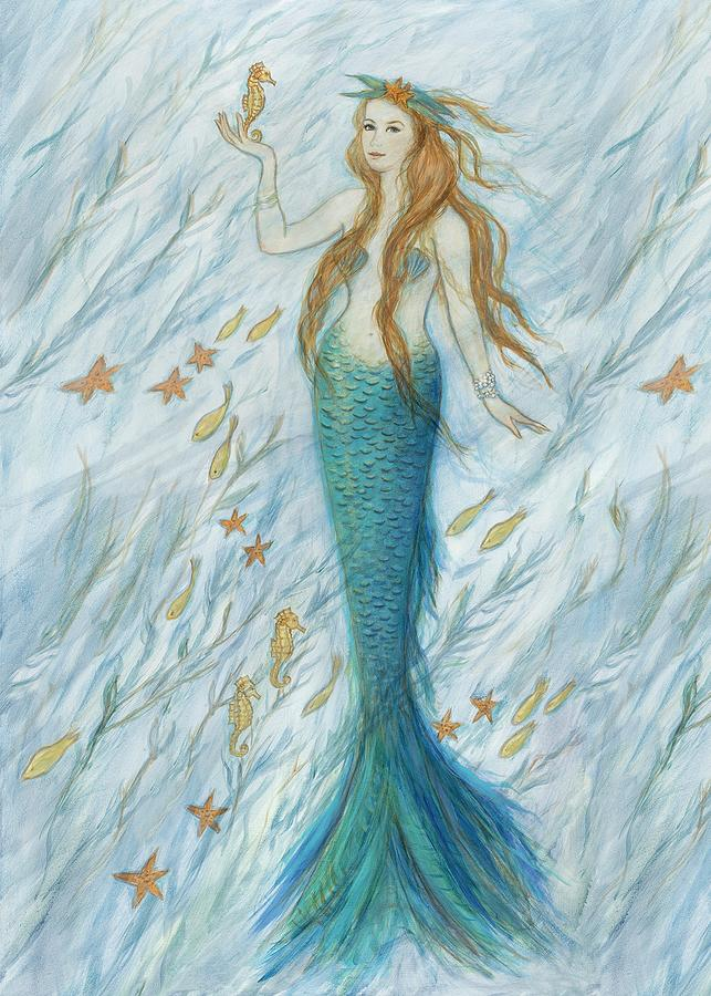 Mermaid Painting - Mermaid And Her Golden Seahorse by Tina Obrien
