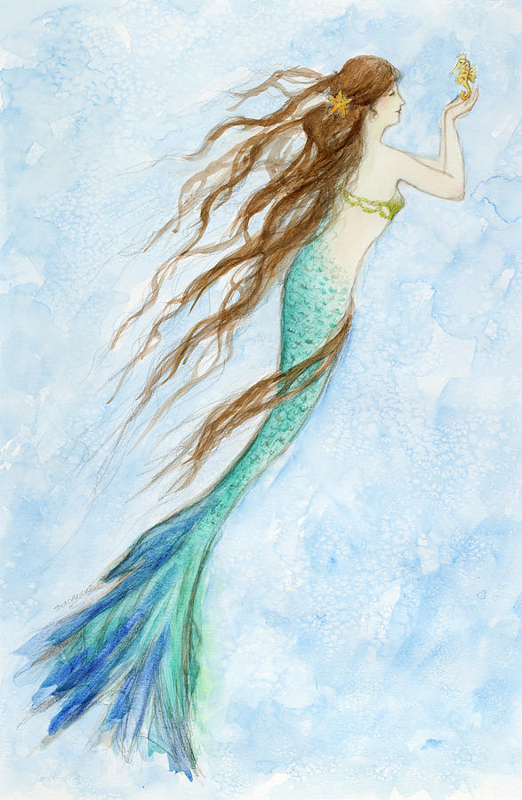Cottage Painting - Mermaid And Her Seahorse by Tina Obrien