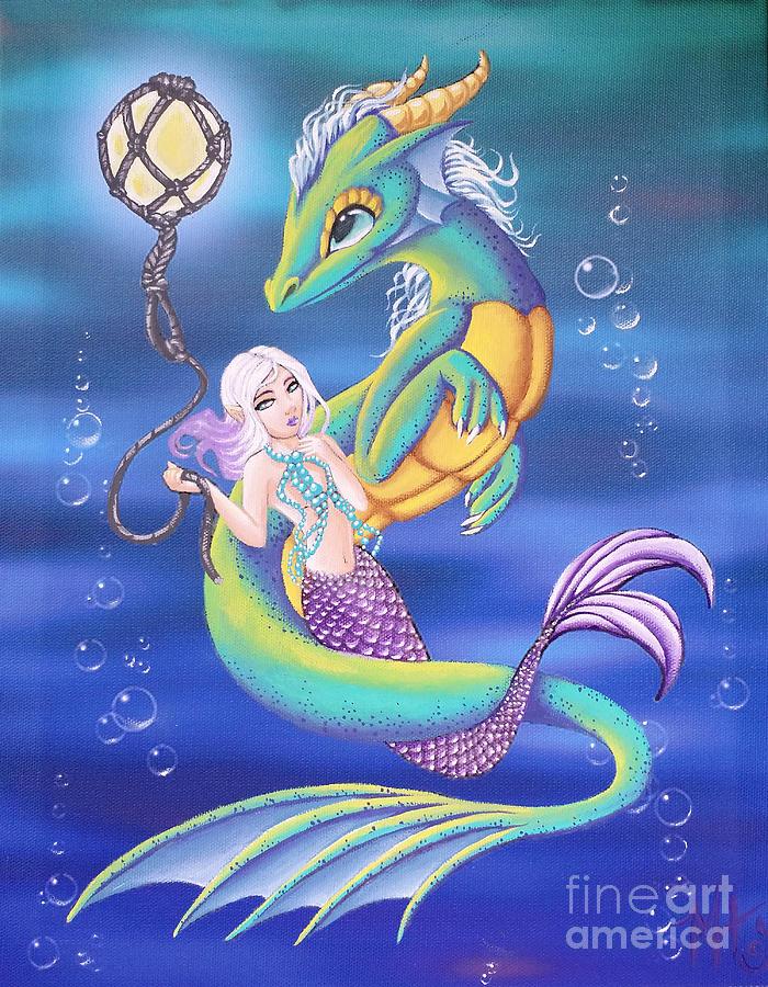 Dragon Painting - Mermaid And Sea Dragon by Mary Hoy