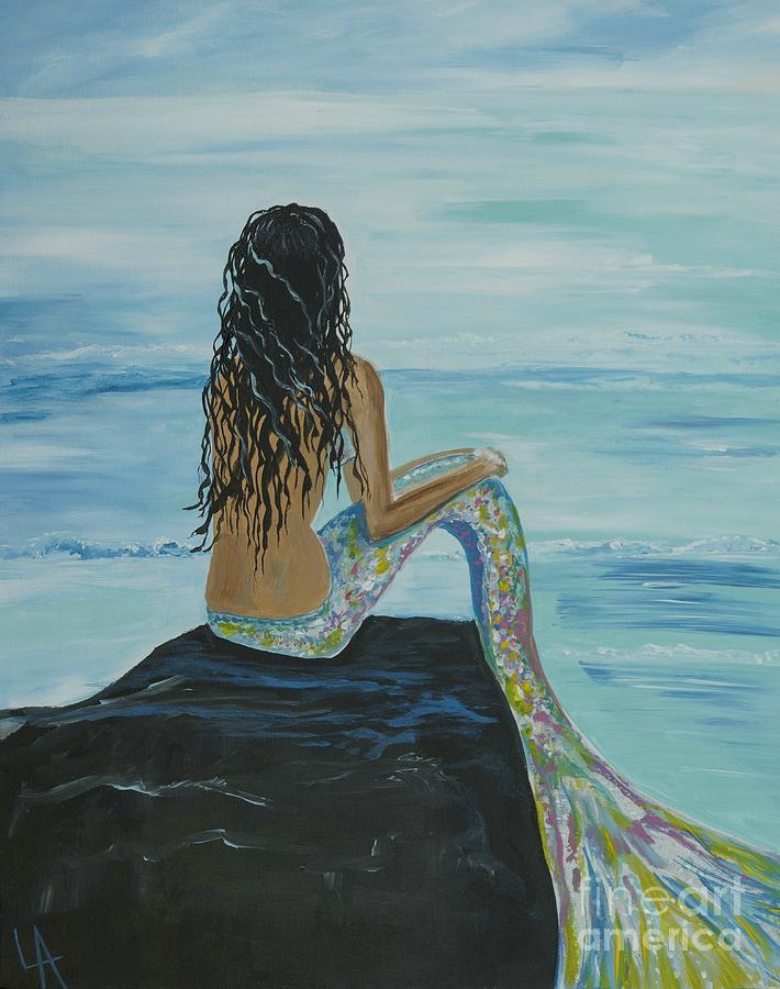 Mermaid Awaits Painting By Leslie Allen