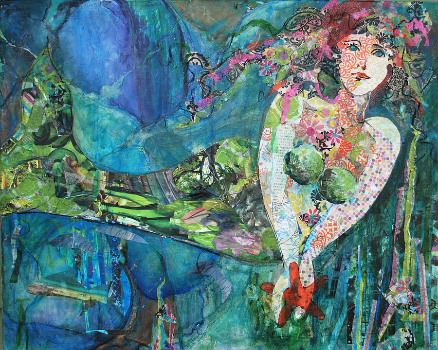 Mixed Media Painting - Mermaid by Donna Stubbs