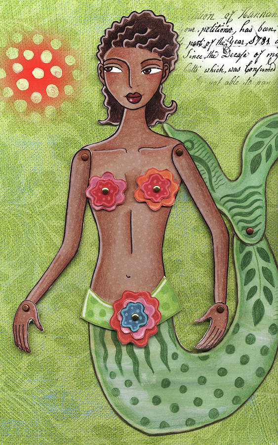 Mermaid Mixed Media by Elaine Jackson