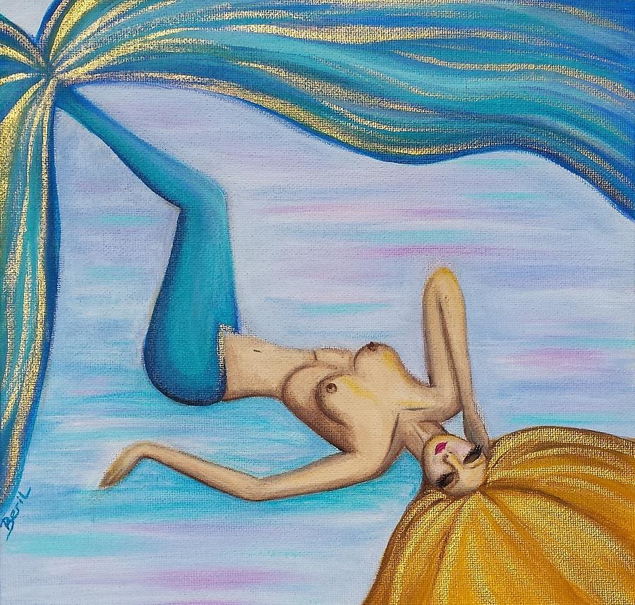 Mermaid Painting - Mermaid Golden Hair by Beryllium Canvas