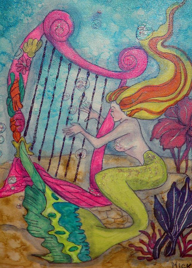 Mermaid Painting - Mermaid Harpist by Mickie Boothroyd