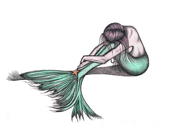 Mermaid Drawing - Mermaid Hope The Good Spirit by Marjorie Smith