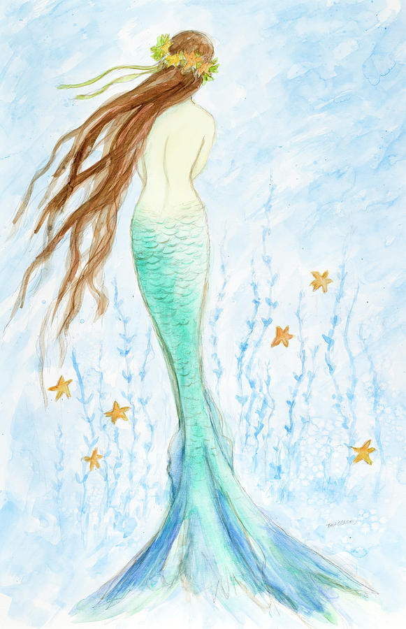 Watercolor Painting - Mermaid In Her Garden by Tina Obrien