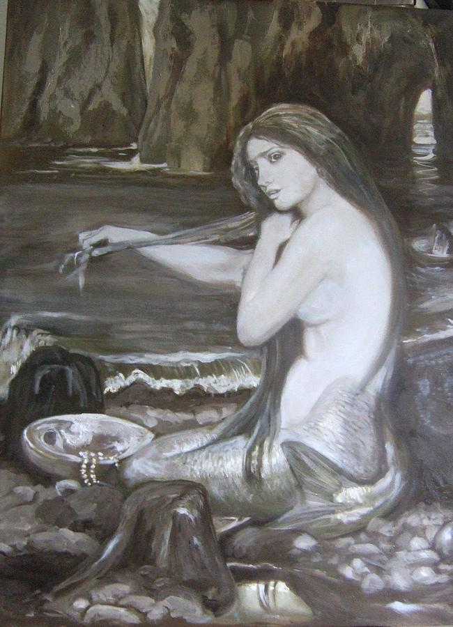 Mermaid Painting - Mermaid In Progress by Darlene LeVasseur