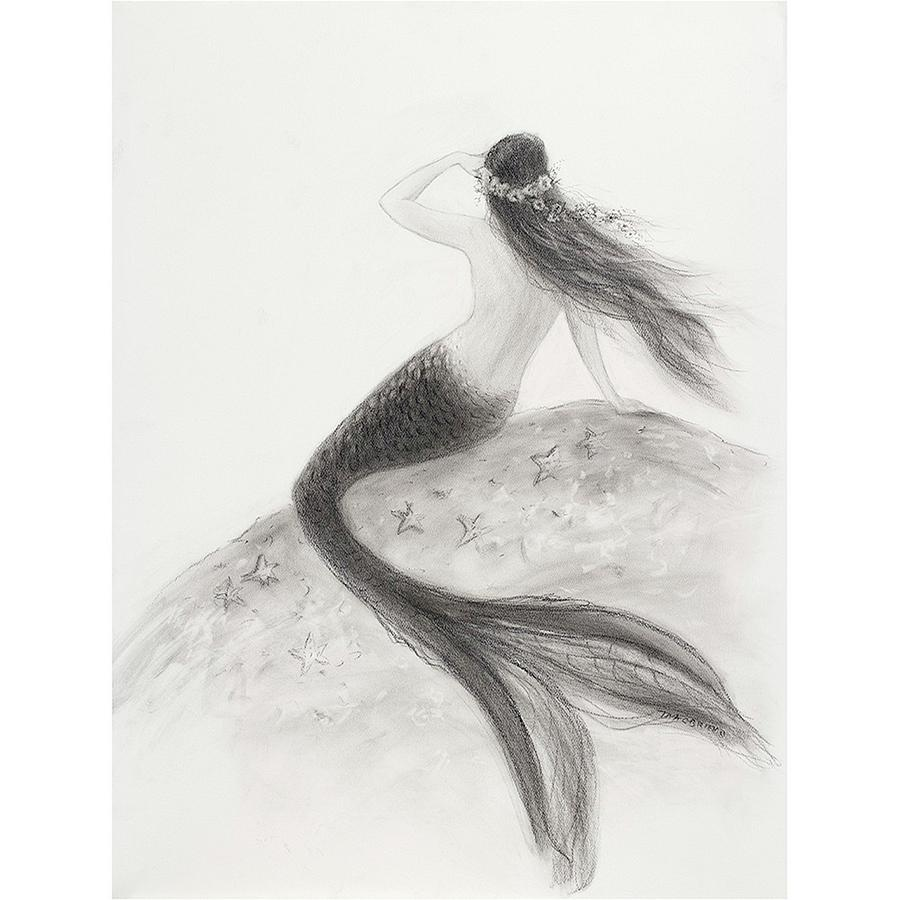 Nautical Painting - Mermaid Looking Out To Sea by Tina Obrien