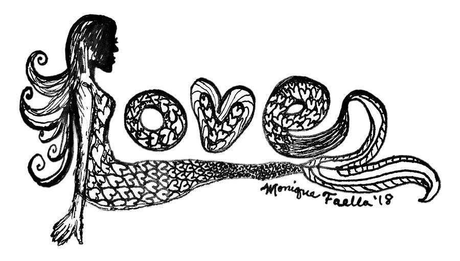 Mermaid Drawing - Mermaid Love by Monique Faella