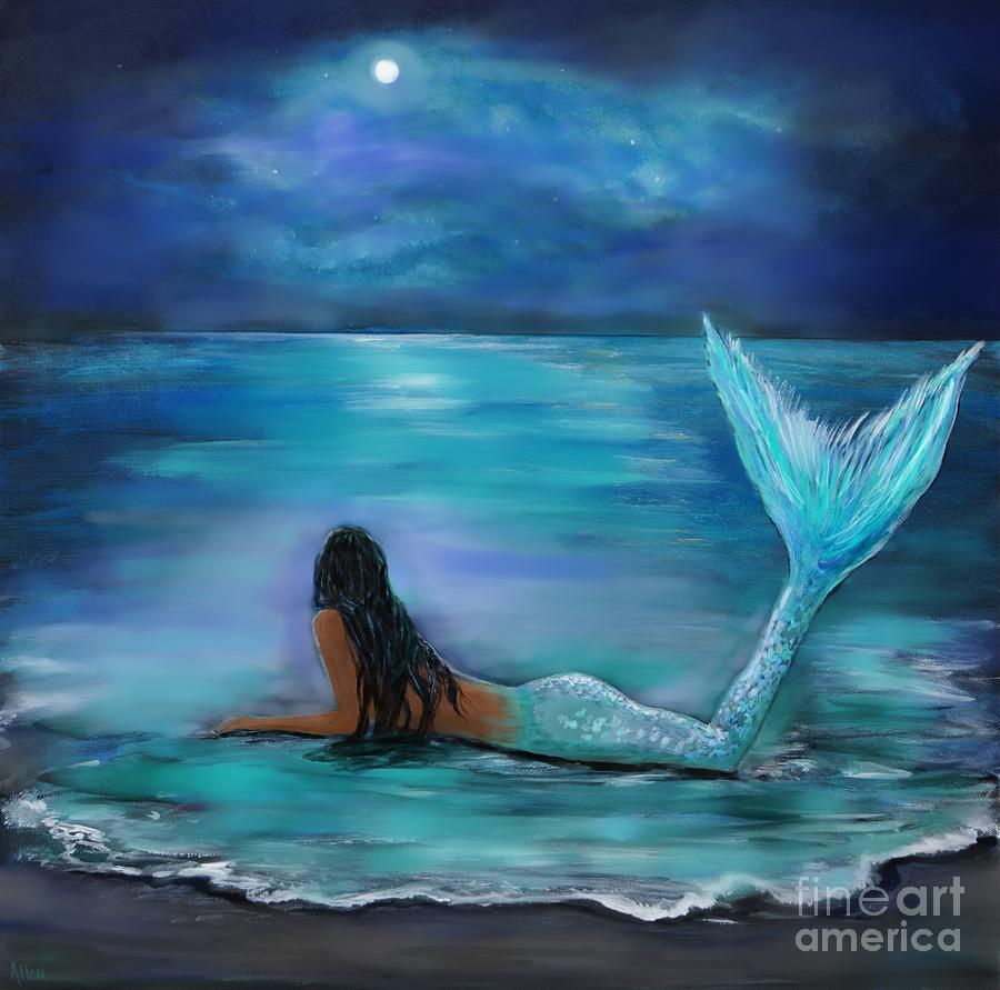 Mermaid moon and stars painting by leslie allen for Real art for sale