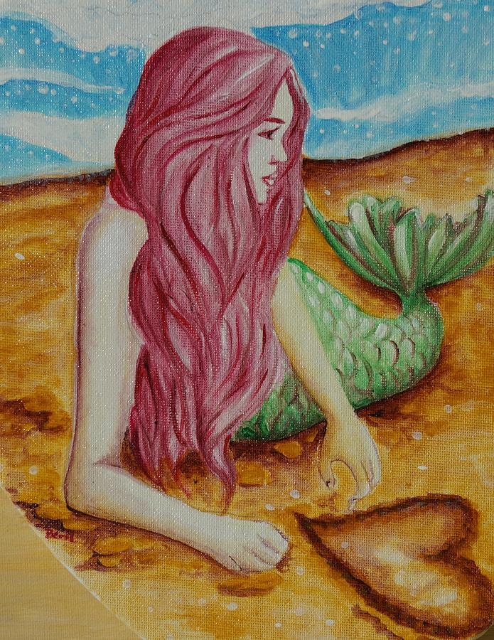 Mermaid Painting - Mermaid On Sand With Heart by Beryllium Canvas