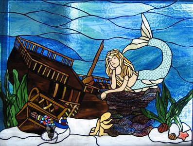 Mermaid Paradise   Original Glass Art by Phil And Brenda Petersen