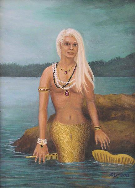 Mermaid Painting - Mermaid by Roz Eve