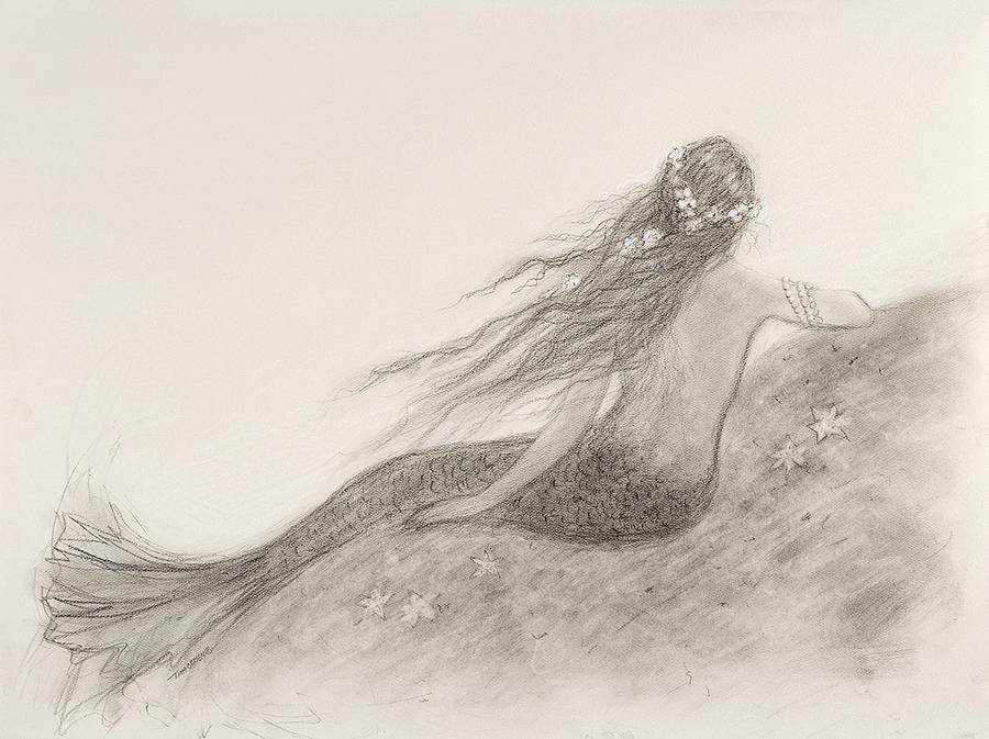 Nautical Painting - Mermaid Waiting by Tina Obrien