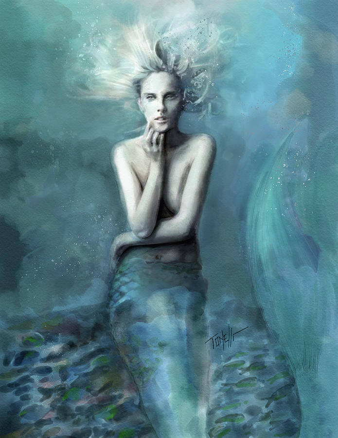 Mermaid At The Edge Of The Sea Mixed Media