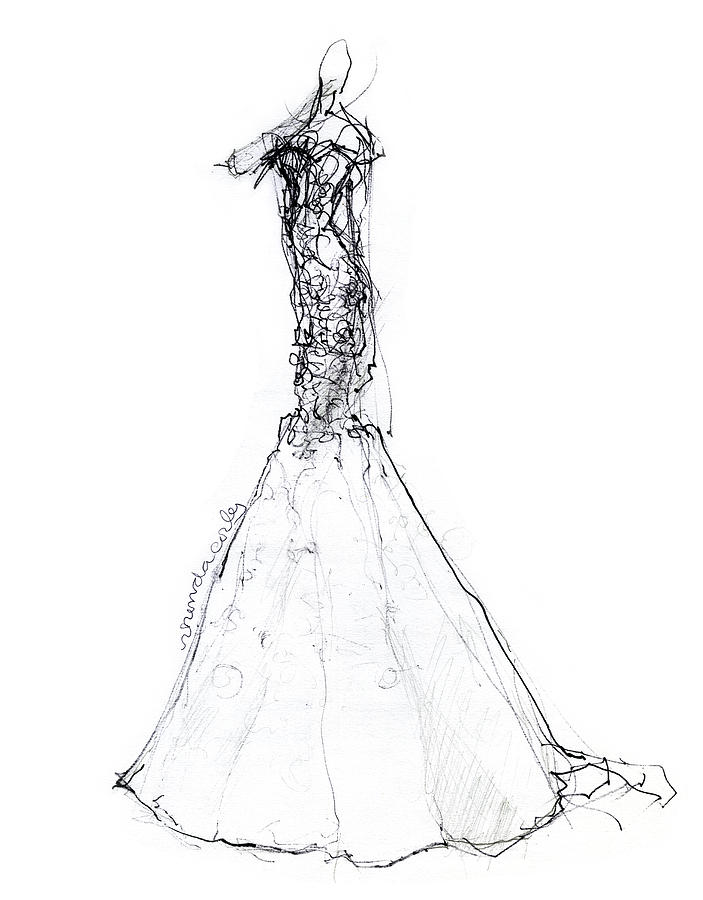 Mermaid Wedding Dress Drawing By Rhonda Corley