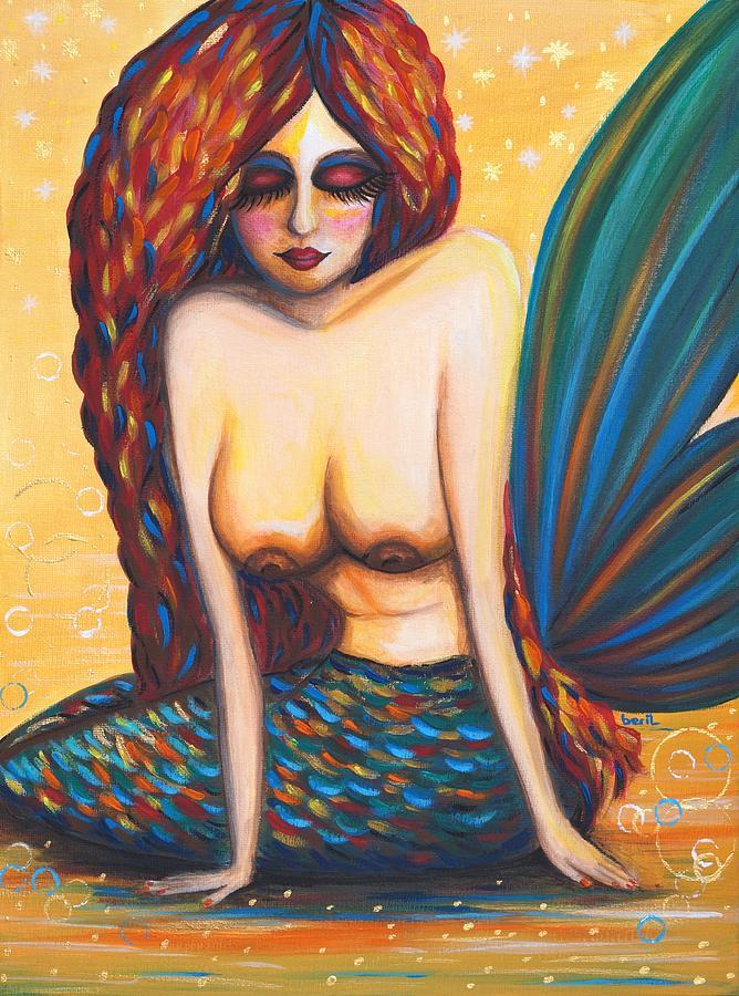 Mermaid Painting - Mermaid Wet by Beryllium Canvas