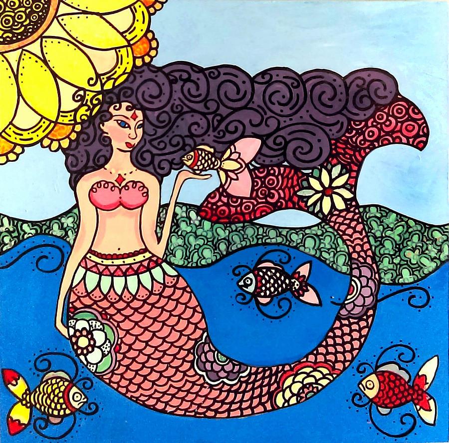 Mermaid with Fish by Caroline Sainis