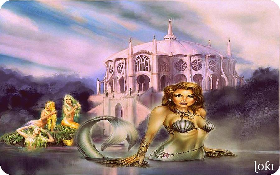 Mermaids Digital Art - Mermaids At Play by Loki Gwyn