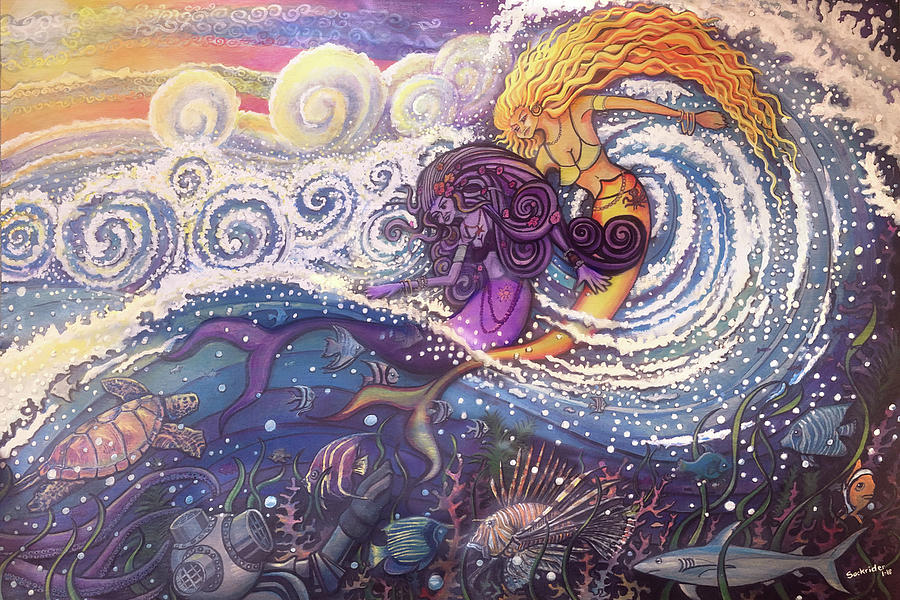 Mermaids Painting - Mermaids In The Surf by David Sockrider