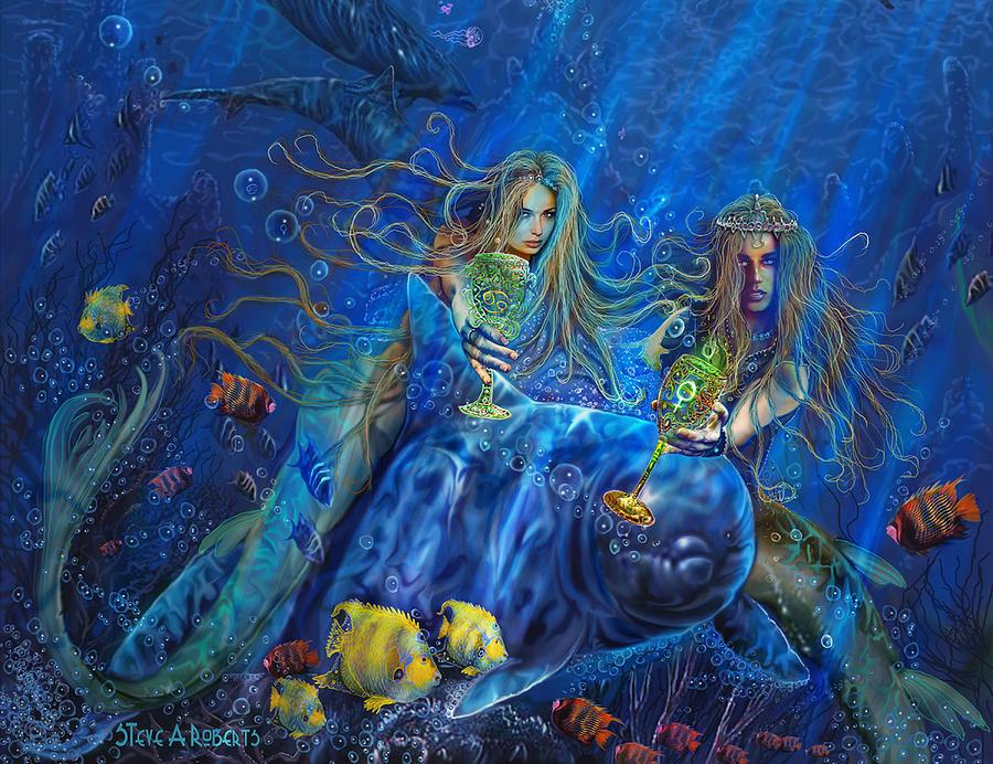 Mermaid Art Painting - Mermaids Of Acqualainia by Steve Roberts