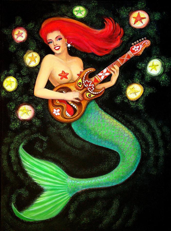 Mermaid Painting - Mermaids Rock Tiki Guitar by Sue Halstenberg