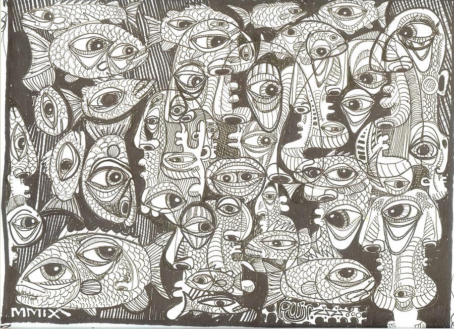 Neo-expressionism Drawing - Merman Metamorphesis by Robert Wolverton Jr