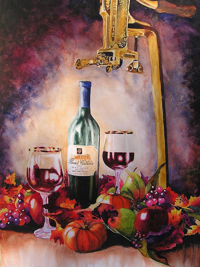 Wine Painting - Merriment by Karen Stark