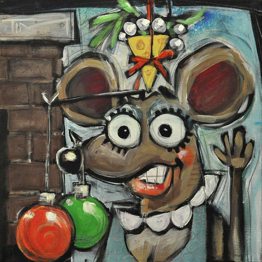 Christmas Painting - Merry Chrismouse by Tim Nyberg
