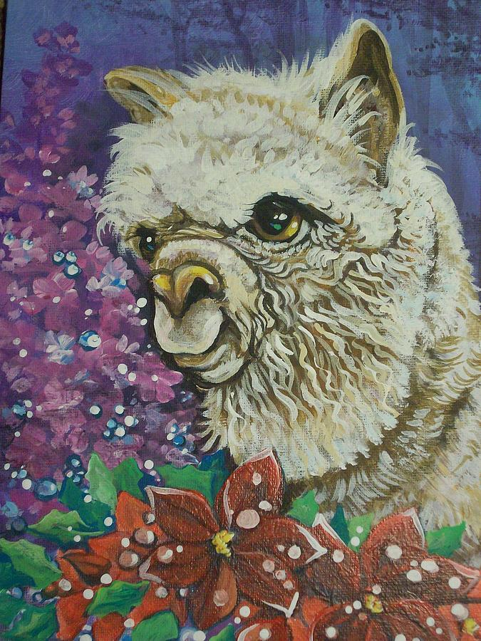 Merry Christmas Alpaca Painting By Patty Sjolin