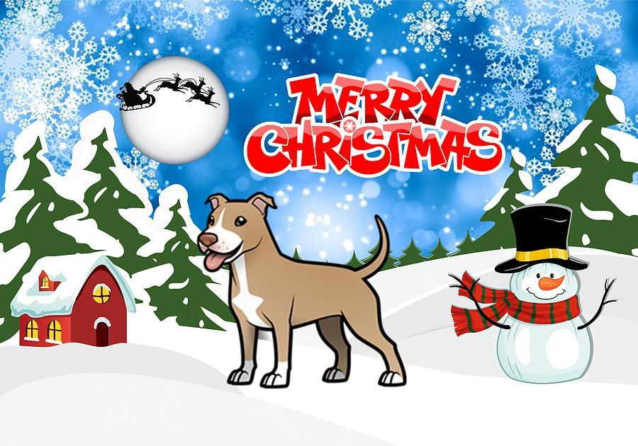 Merry Christmas American Pitbull Terrier Digital Art by Justin Clanton