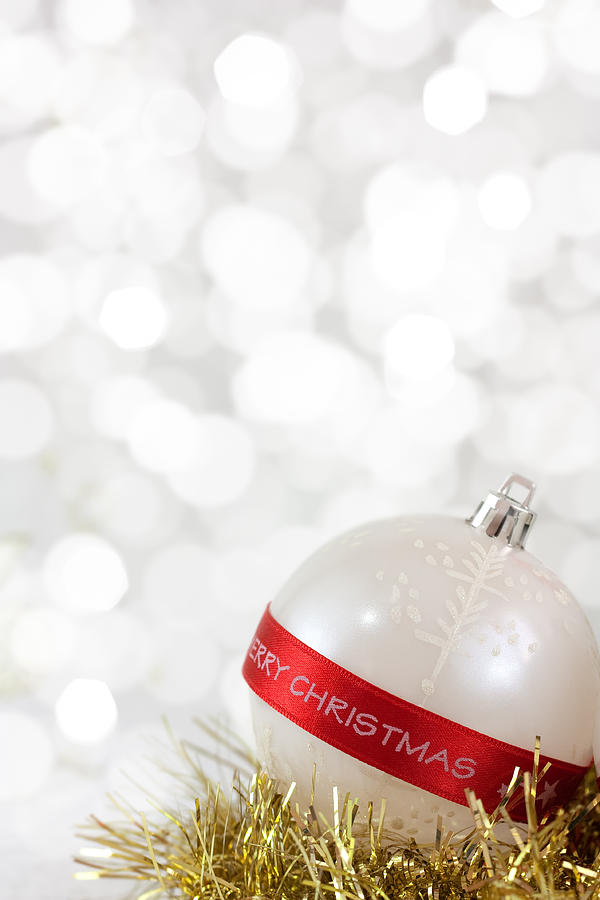 Backdrop Photograph - Merry Christmas Bauble by Boyan Dimitrov