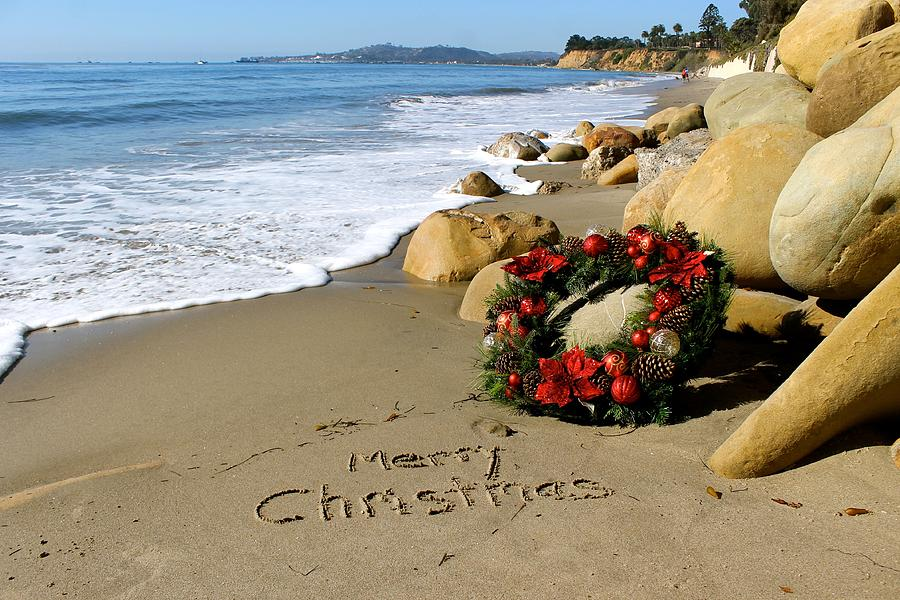 holiday photograph merry christmas from california beach by sharon sayre - Merry Christmas Beach Images