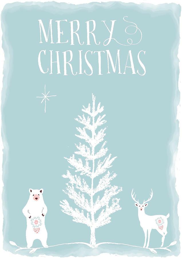 Christmas Mixed Media - White Christmas Bear And Stag by Amanda Lakey