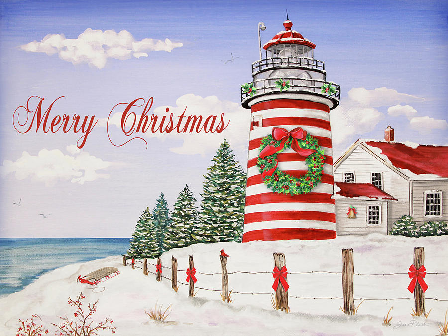 Merry Christmas Lighthouse-jp3897 Painting by Jean Plout