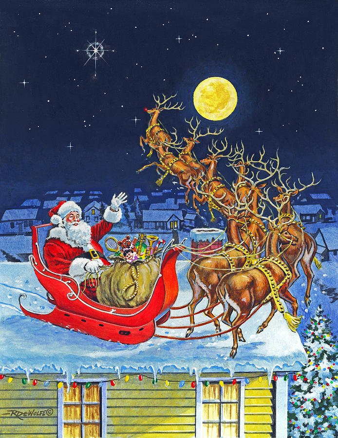 Christmas Eve Painting - Merry Christmas To All by Richard De Wolfe