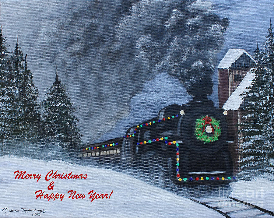 Merry Christmas Train Painting by Melissa Toppenberg