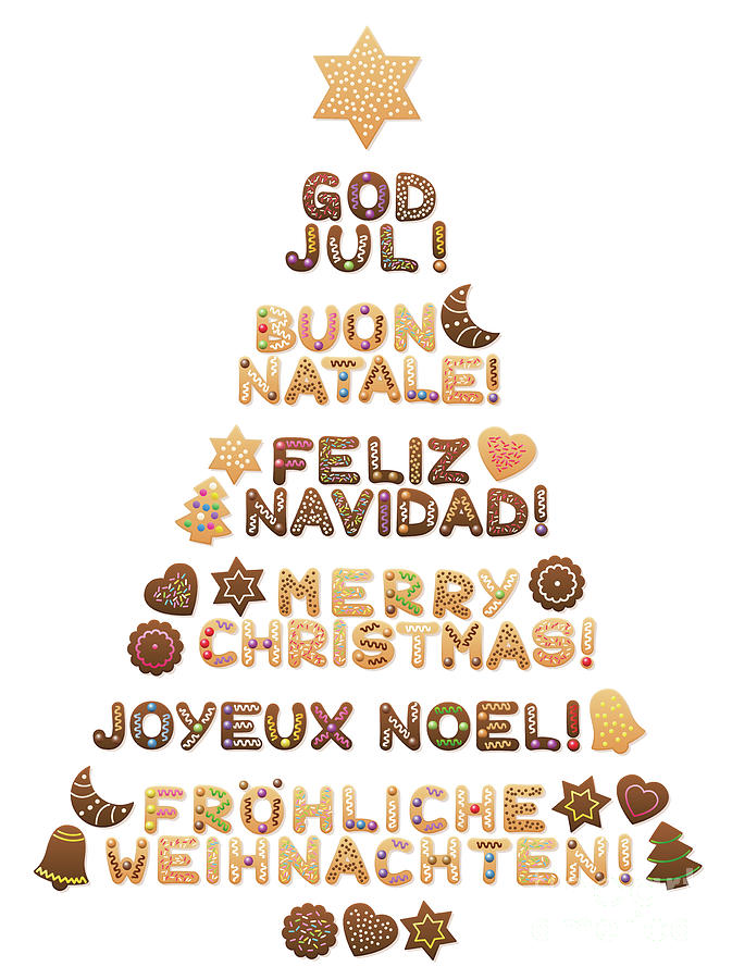 Merry Christmas In Different Languages.Merry Christmas Tree Different Languages