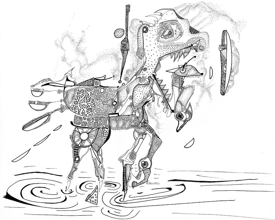 Carousel Drawing - Merry-go-round Horse by Regina Valluzzi