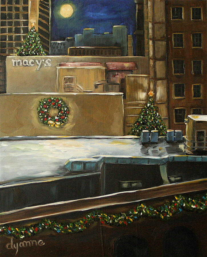 Cityscape Painting - Merry Rooftops by Dyanne Parker